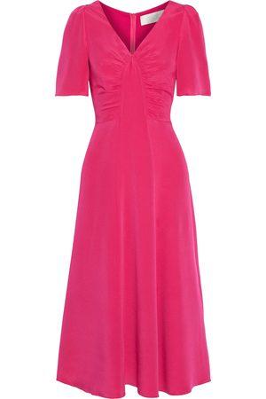 GOAT Woman Rosemary Ruched Silk Crepe De Chine Midi Dress Fuchsia Size 10