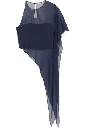 Cushnie Woman Asymmetric Layered Silk-chiffon And Cady Top Navy Size 2
