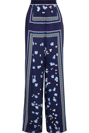 LELA ROSE Woman Grosgrain-trimmed Printed Satin Wide-leg Pants Navy Size 10