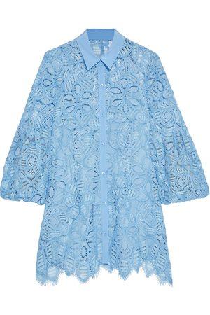 LELA ROSE Woman Crepe De Chine-trimmed Corded Lace Shirt Light Size 0