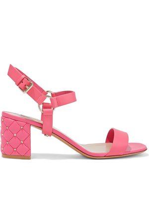 VALENTINO GARAVANI Woman Rockstud Spike Leather Sandals Bubblegum Size 35
