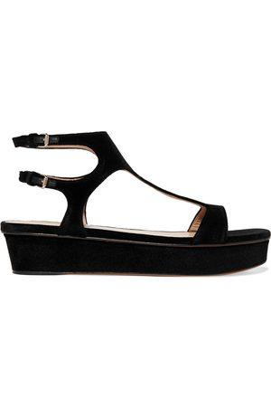 VALENTINO GARAVANI Woman Cutout Velvet Platform Sandals Size 37.5