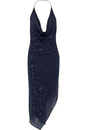 Cushnie Woman Asymmetric Metallic Fil Coupé Chiffon Halterneck Dress Navy Size 0