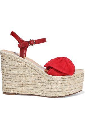 VALENTINO GARAVANI Women Sandals - Woman Bow-embellished Leather And Suede Platform Espadrille Sandals Size 38