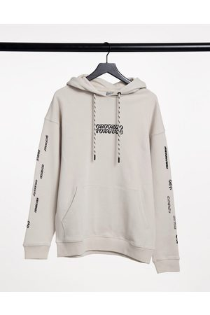 Crooked Tongues Hoodies - Hoodie with front logo and sleeve print-Grey