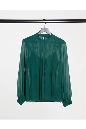 ASOS Long sleeve pleated trapeze top in forest green