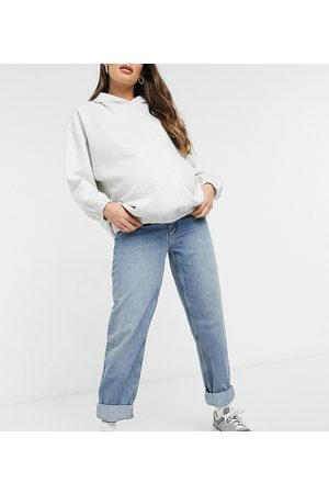 ASOS ASOS DESIGN Maternity high rise 'slouchy' mom jeans in authentic midwash with elasticized side waistband