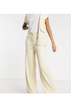 Damson Madder Recycled polyester wide leg rib pant co-ord-Cream