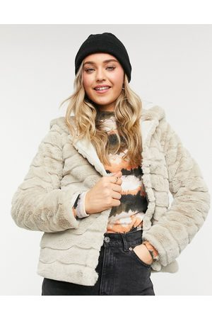 JDY EMILY faux fur hoodie jacket in