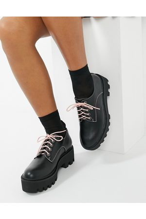 Lamoda Chunky flat shoes with changeable laces in and pink