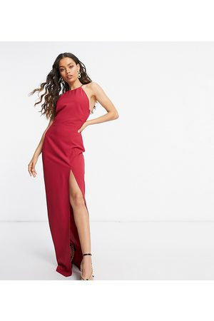 Vesper Petite Halterneck maxi dress with thigh split in deep raspberry
