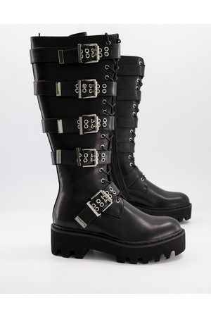 Lamoda Lockdown buckle detail knee high boots in