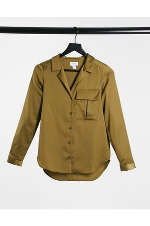 Style Cheat Satin shirt with pocket detail in khaki