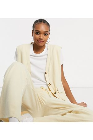 Damson Madder Oversized ribbed vest in recycled polyester co-ord-Cream