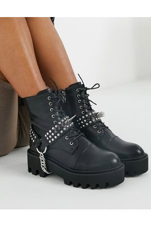 Lamoda Deviant lace up boots with studded harness in