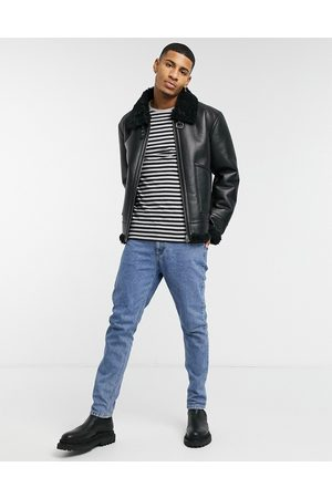 ASOS Jackets - Faux shearling aviator jacket in with buckle detail