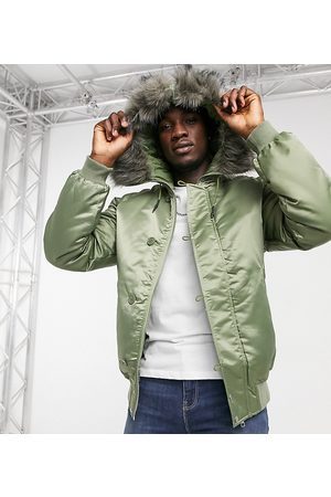 ASOS Tall padded bomber jacket with faux fur hood in khaki