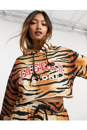 Jagger and Stone Jagger & Stone cropped hoodie with logo in tiger print