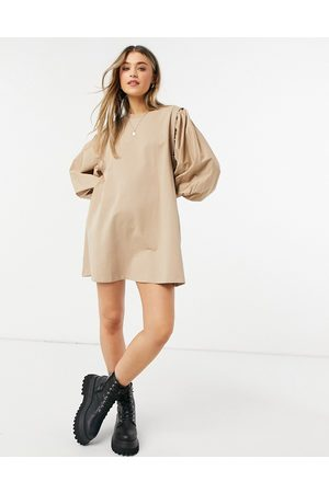 ASOS Mini sweatshirt dress with puff sleeves in camel