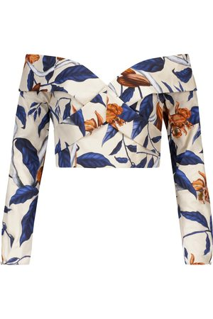 JOHANNA ORTIZ Coast To Coast floral stretch-cotton crop top