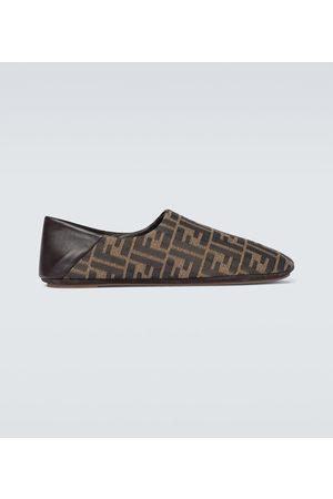 Fendi FF canvas slippers