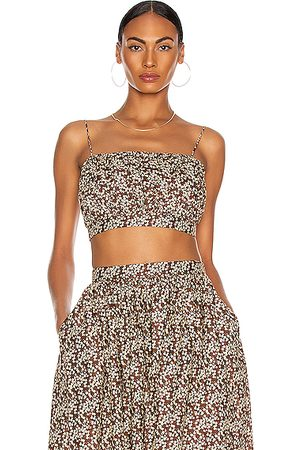 MATTEAU Ruched Camisole Top in ,Floral