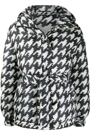 Perfect Moment Women Parkas - Houndstooth print oversized parka coat