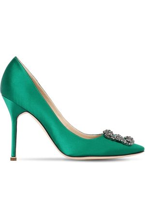 Manolo Blahnik 105mm Hangisi Satin Pumps