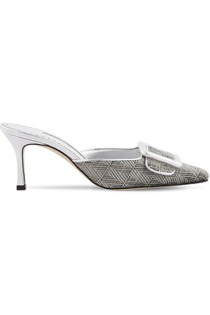 Manolo Blahnik 70mm Maysale Metal Weave & Leather Mules