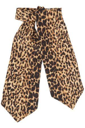 Saint Laurent Leopard-print Silk-etamine Lavallière - Womens - Leopard