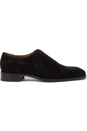 Christian Louboutin Corteo Crystal-studded Suede Oxford Shoes - Mens
