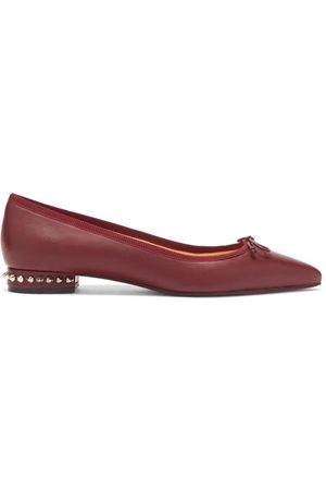 Christian Louboutin Hall Spike-embellished Leather Ballet Flats - Womens - Burgundy