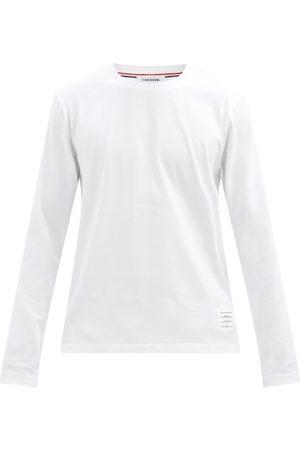Thom Browne Men Long Sleeve - Tricolour-stripe Cotton-jersey T-shirt - Mens