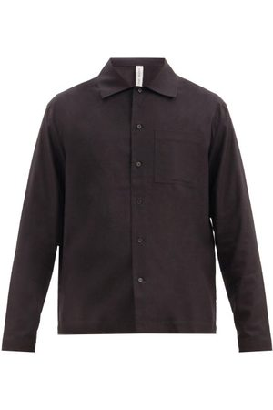 Another Aspect Men Casual - Patch Pocket Raw-silk Shirt - Mens