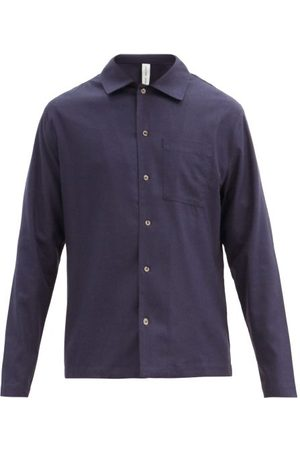 Another Aspect Patch Pocket Raw-silk Shirt - Mens - Navy