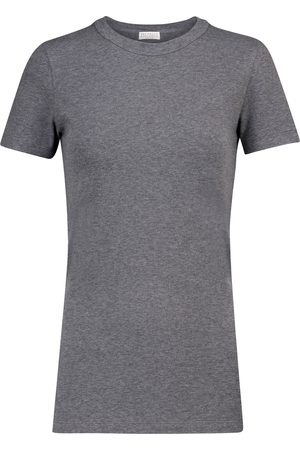 Brunello Cucinelli Embellished stretch-cotton T-shirt