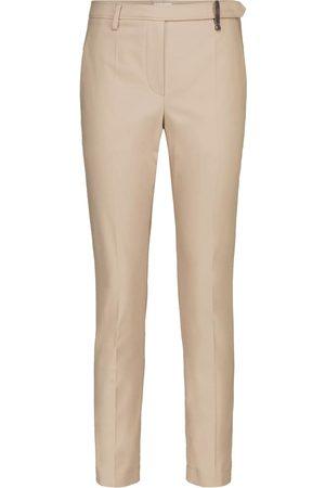 Brunello Cucinelli Mid-rise cotton-drill cigarette pants
