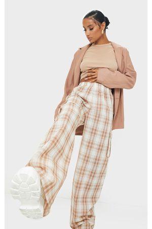 PRETTYLITTLETHING Women Cargo Pants - Stone Check Wide Leg Cargo Pants