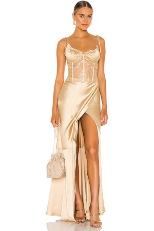 V. Chapman Calla Lily Gown in Metallic Gold.