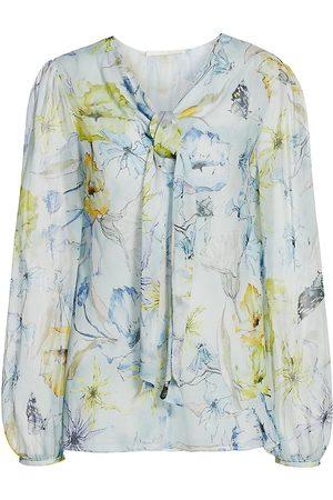 Jason Wu Women's Floral Silk Tieneck Blouse - - Size 10