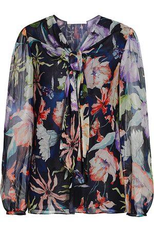 Jason Wu Women's Floral Silk Tieneck Blouse - - Size 12