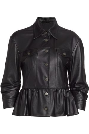 Cinq A Sept Women's Arbor Ruffle Leather Jacket - - Size Small
