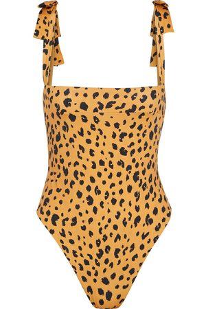 Nicholas Women Swimsuits - Woman Open-back Bow-embellished Leopard-print Swimsuit Animal Print Size XS