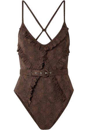 Nicholas Woman Belted Ruffled Stretch-jacquard Swimsuit Size L