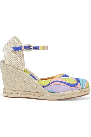 Emilio Pucci Women Wedges - Woman Printed Satin-twill Wedge Espadrilles Size 36
