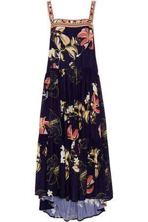 JETS Women Printed Dresses - Woman Asymmetric Floral-print Jacquard Midi Dress Indigo Size M