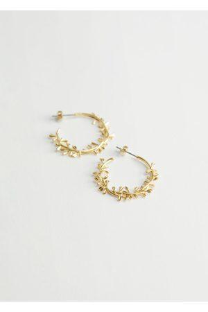 & OTHER STORIES Floral Embossed Open Hoop Earrings