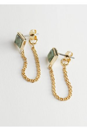 & OTHER STORIES Drop Chain Stone Pendant Earrings