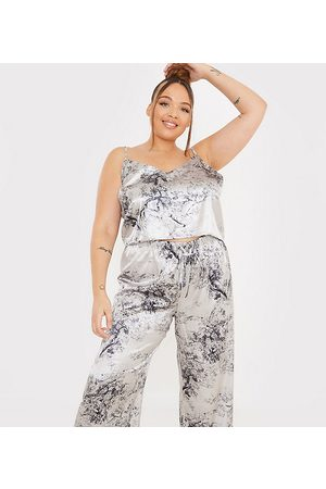 In The Style X Lorna Luxe satin contrast trim pajama cami and pants set in navy multi