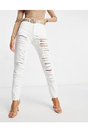 NaaNaa High waist ripped mom jeans in